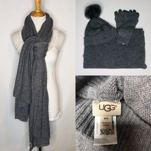 Ugg Cashmere/Wool Blend Hat, Scarf, and Glove Set